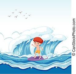 niño, surf, onda grande