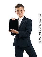 niño, tableta, actuación, computadora, juego negro