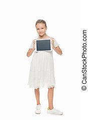niño, tableta, digital