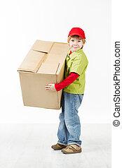 niño, tenencia, grande, cartón, caja