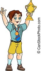 niño, tenencia, ilustración, trofeo