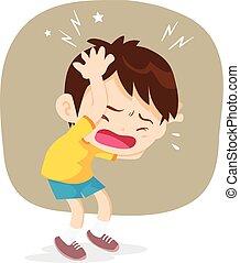 niño, tener, dolor de cabeza