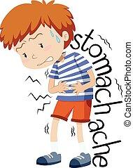 niño, teniendo, enfermo, stomachache