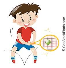 niño, tenis, camisa, rojo, juego