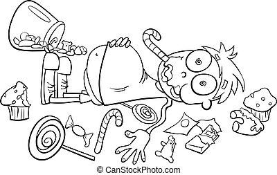 niño, tienda, como, dulce, caricatura
