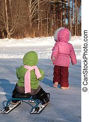 niño, tira, otro, en, nieve, patineta, de, espalda
