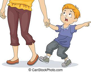 niño, tirar, el suyo, la mano de la madre