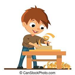 niño, trabajo, carpintería