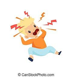 niño, travieso, lindo, furioso, gritos, malo, vector, ilustración, comportamiento, niño, niño