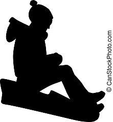 niño, trineo, el sledding