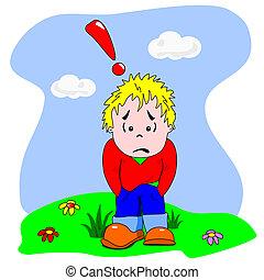 niño, triste, decepcionado, caricatura, y