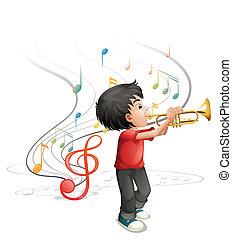 niño, trompeta que juega, talentoso, joven