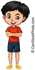 niño, uno, feliz, camisa roja