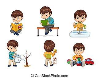niño, vector, colección, ilustración, actividades