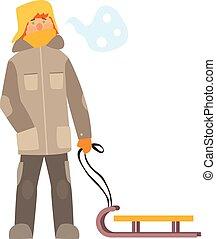 niño, vector, invierno, ilustración, sled.