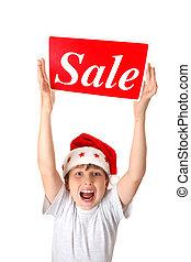 niño, venta, excitado, señal