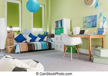 niño, verde, espacioso, habitación