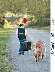 niño, viajar, perro