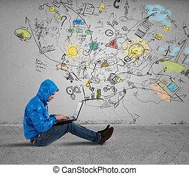 niño, woks, con, computador portatil