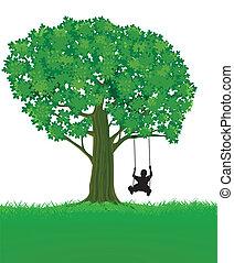 niño, y, árbol