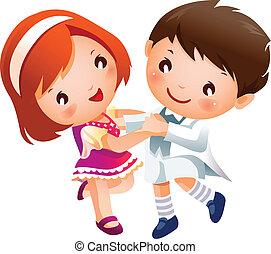 niño y niña, bailando