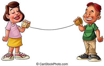 niño y niña, hablar, en, un, lata