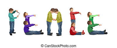 niño y niña, makin, palabra, paz, collage