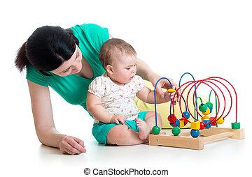 niño, y, obra dramática de madre, con, color, juguete...