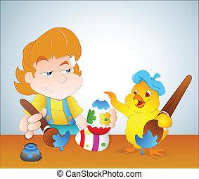 niño, y, pollo, pintura, huevo de pascua