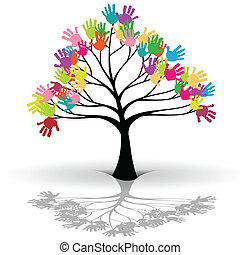 niños, árbol