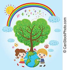 niños, abrazar, tierra