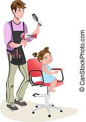 niños, adolescente, peluquero, carácter, lindo, niña, hembra, maestro