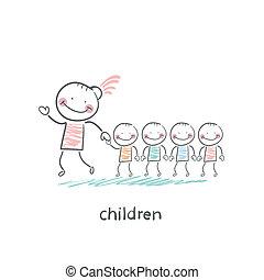 niños, adultos