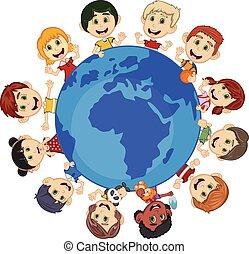 niños, alrededor, la tierra, caricatura