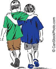 niños, ambulante, amigos, dos, juntos