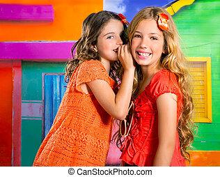 niños, amigos, niñas, en, vacaciones, en, tropical, colorido, casa