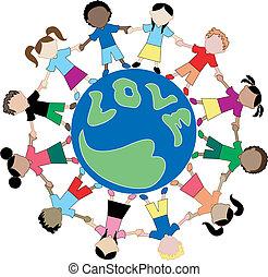 niños, amor, globo 2