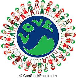 niños, amor, navidad
