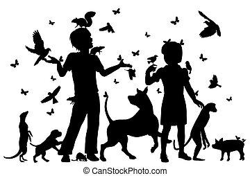 niños, animal