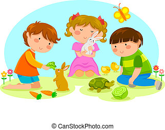 niños, animales