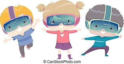 niños, aprendizaje, postura, ilustración