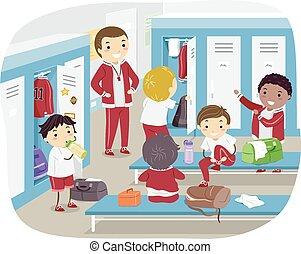 niños, armario, stickman, habitación