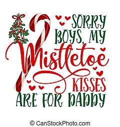 niños, arrepentido, mi, muérdago, besos, papá