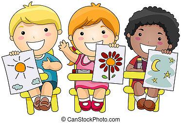 niños, arte