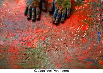 niños, artista, manos, pintura, multi, colores