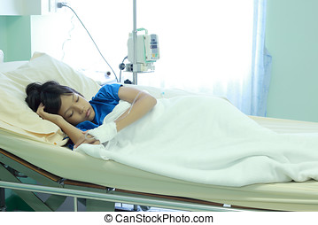 niños asiáticos, niña, en, hospital