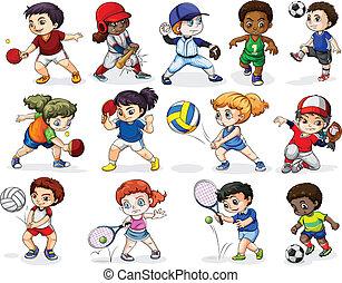 niños, atractivo, en, diferente, actividades de deportes