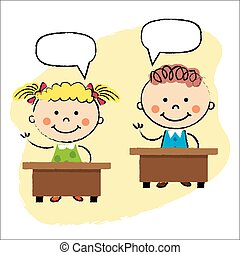 niños, aula, escritorios, sentado