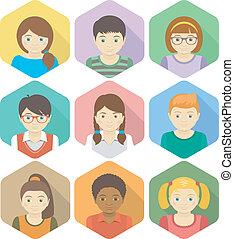 niños, avatars, en, hexágonos