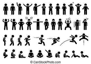 niños, básico, posturas, y, expressions.
